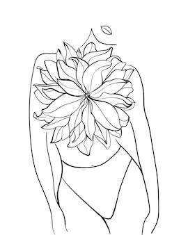Красивая женщина с цветком. рисование линии. - векторная иллюстрация.