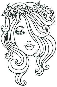 꽃, 선형 일러스트와 함께 아름 다운 여자