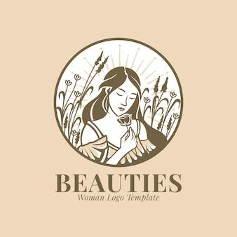 Красивая женщина с цветами логотип шаблон