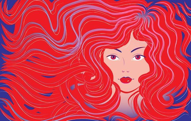 Красивая женщина с распущенными волосами. векторная иллюстрация
