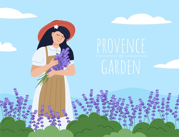 Beautiful woman with lavender bouquet. floral background with florist girl. provence garden