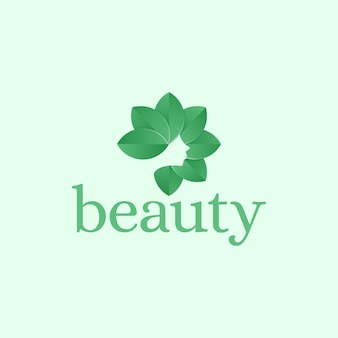 Beautiful woman with leaf hair silhouette logo