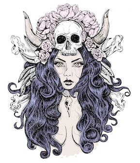 Красивая женщина с длинными волосами и рогами