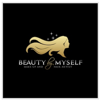 Beautiful woman with long hair silhouette logo