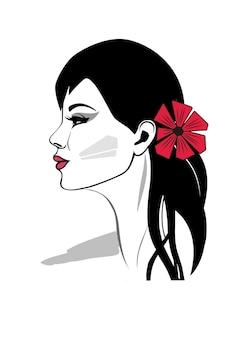 黒髪のエレガントな女性のプロフィールの肖像画の赤い花を持つ美しい女性