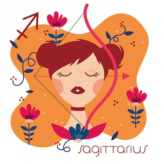 Beautiful woman with sagittarius zodiac sign illustration