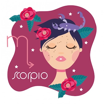 Beautiful woman with scorpio zodiac sign illustration