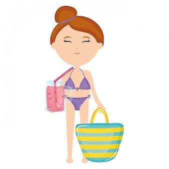 Beautiful woman with swimsuit and handbag
