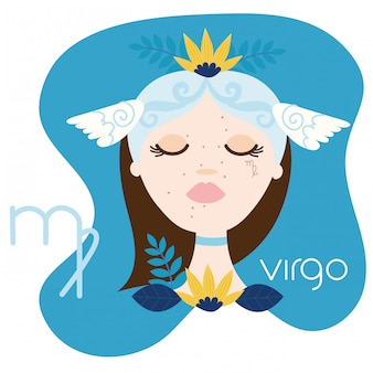 Beautiful woman with virgo zodiac sign illustration