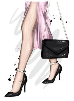 아름다운 여자의 feets 및 세련된 신발과 버그