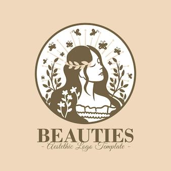 Красивый женский эстетический логотип шаблон