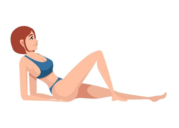 Beautiful women in blue swimsuit lying on back cartoon character design illustration