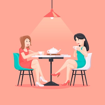 Beautiful women in a cafe illustration