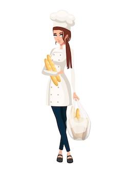 갈색 머리를 가진 아름다운 여성 요리사