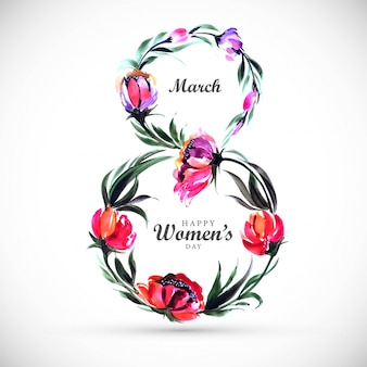 Beautiful women day card background with frame flowers 8 march