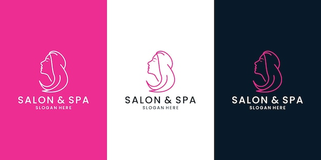 Beautiful women face hairstyle logo design for salon and spa