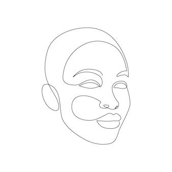 美しい女性は一本の線画スタイルで直面します。ロゴ、エンブレム、プリント、ポスター、カード用のミニマルでモダンな女性の頭。簡単なベクトル図