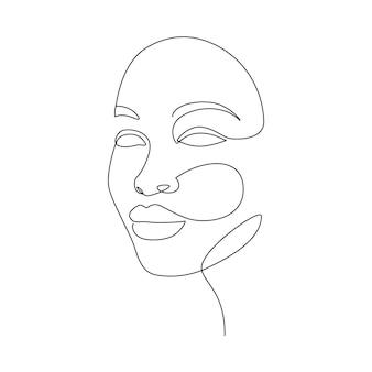 美しい女性は一本の線画スタイルで直面します。ロゴ、エンブレム、プリント、ポスター、カードのミニマルでモダンな女性の肖像画。抽象的なベクトル図