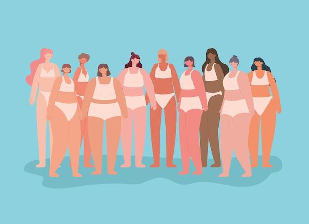 Группа красивых женщин в нижнем белье. концепция разнообразия