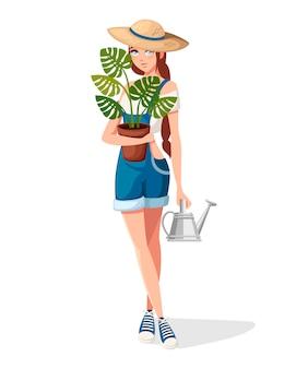 아름다운 여성은 화분과 물을 수 있습니다. 여름 모자와 농부 소녀입니다. 만화 캐릭터 디자인. 흰색 배경에 평면 그림입니다.
