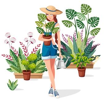아름다운 여성은 화분과 물을 수 있습니다. 여름 모자와 농부 소녀입니다. 만화 캐릭터 디자인. 배경에 많은 꽃 냄비. 화이트 플랫 그림입니다.