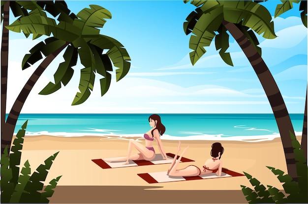 ビーチタオルの上に横たわっている美しい女性海岸の熱帯の風景良い晴れた日にヤシの木や植物と美しい海岸のビーチフラットベクトルイラスト。