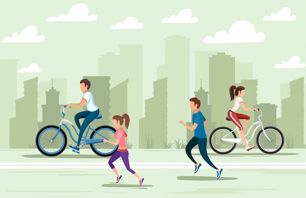 Beautiful women and men riding bicycle and running. people in sports wear. cartoon character .   illustration on city landscape background. web site page and mobile app