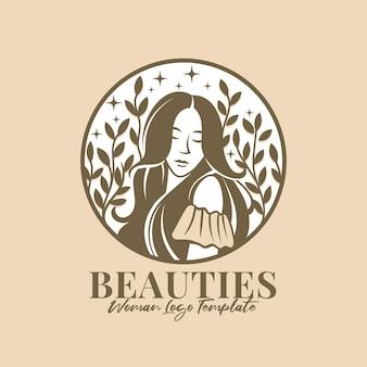 Красивые женщины естественный векторный логотип шаблон