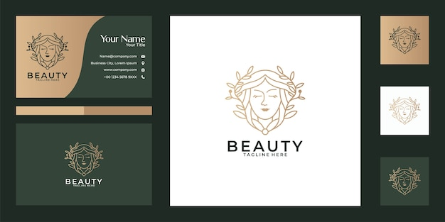 Beautiful women nature line art logo design and business card. good use for beauty salon, spa, yoga and fashion logo