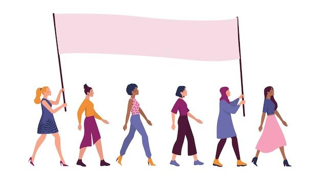 大きなバナーと立っているさまざまな人種や国籍の美しい女性。フェミニズムと少女の力。ジェンダー平等と女性の動き。