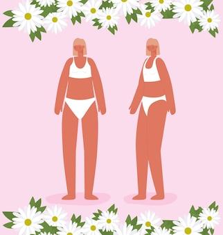 Пара красивых женщин в нижнем белье. концепция разнообразия