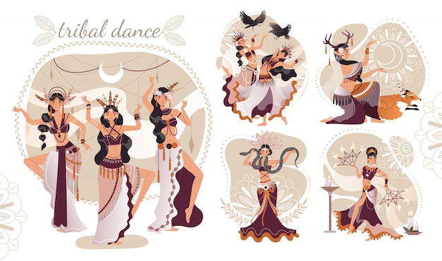 Beautiful women performing ritual dance, ethnic tribe illustration