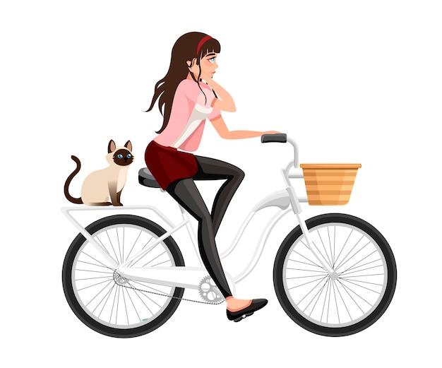 자전거를 타는 아름다운 여성. 고양이는 자전거에 앉아있다. 만화 캐릭터 . 흰색 배경에 그림