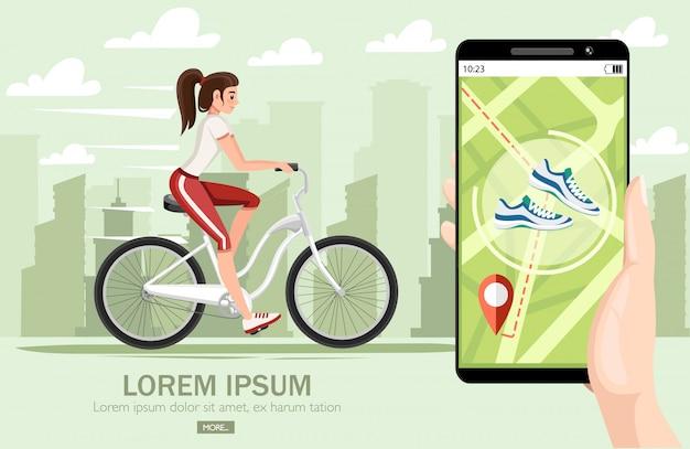 自転車に乗って美しい女性。自転車とスポーツウェアの女の子。漫画のキャラクター 。都市景観の背景のイラスト。モバイルアプリ