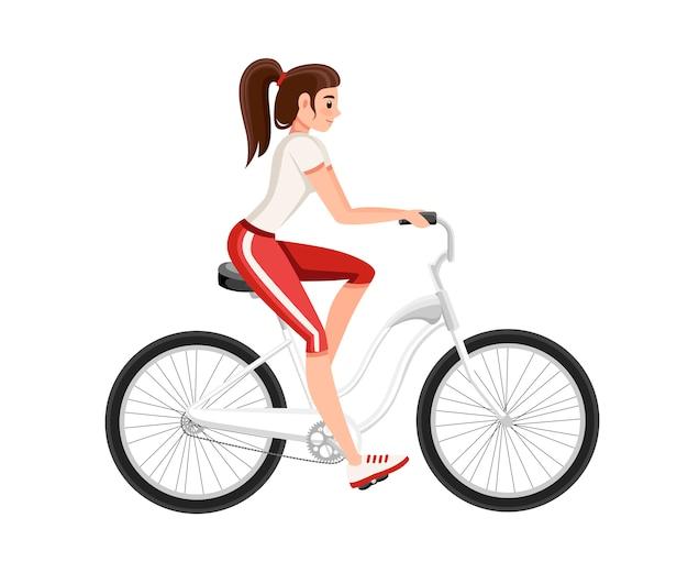 自転車に乗って美しい女性。自転車とスポーツウェアの女の子。漫画のキャラクター 。白い背景の上の図