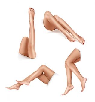 Красивые женские ножки в разных позах. концепция депиляции. реалистичная иллюстрация, изолированная на белом