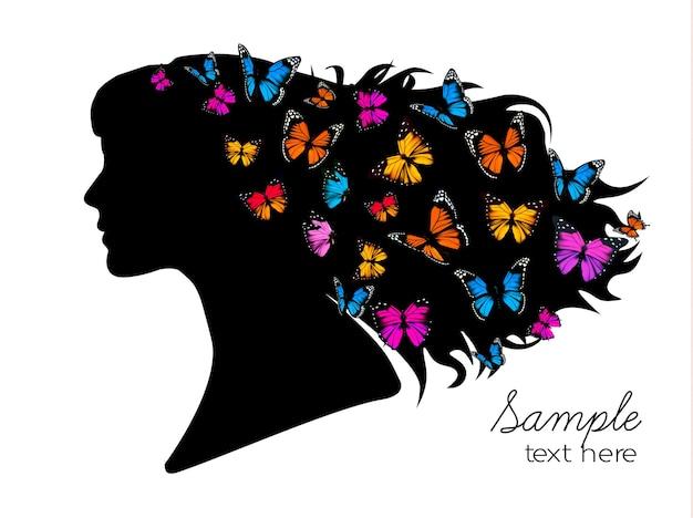 頭の中にカラフルな蝶と美しい女性のシルエット。