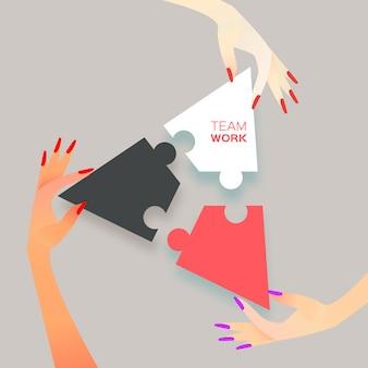 Красивые женщины три руки вместе работают. группа деловых людей, собирающих пазл, представляют поддержку команды. концепция помощи. соответствие бизнеса. соединение элементов головоломки. векторная иллюстрация