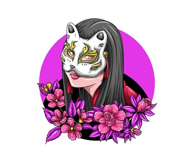 Beautiful women wear japanese fox masks