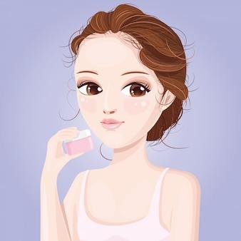 Beautiful women and whitening cream