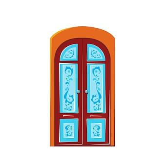 Красивая деревянная дверь с синим витражом векторные иллюстрации в мультяшном стиле для детей