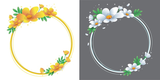 Beautiful wreath flower ring two gradient colours