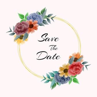 飾られた水彩画の花の美しい花輪