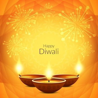 Beautiful yellow background for diwali decorated with fireworks