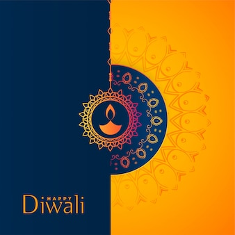 Beautiful yellow and blue happy diwali festival background