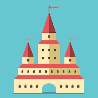 Красивый желтый замок с аркой и флагами. недвижимость, дом, концепция богатства. плоский стиль. eps 8 векторные иллюстрации, без прозрачности