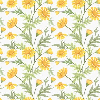 Beautiful yellow daisy flowers seamless pattern fabric textile.