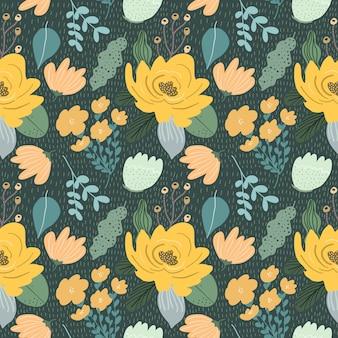 Beautiful yellow floral garden seamless pattern
