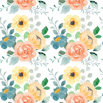 아름 다운 노란 꽃 수채화 원활한 패턴