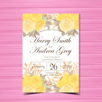 아름 다운 노란 꽃 결혼 초대장